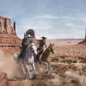 Komar 8-473 atlı kovboy duvar kağıdı