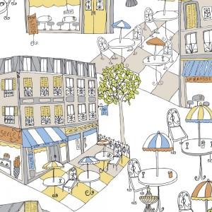 Norwall Fresh Kitchens renkli sokak kesit KE29942 Duvar Kağıdı
